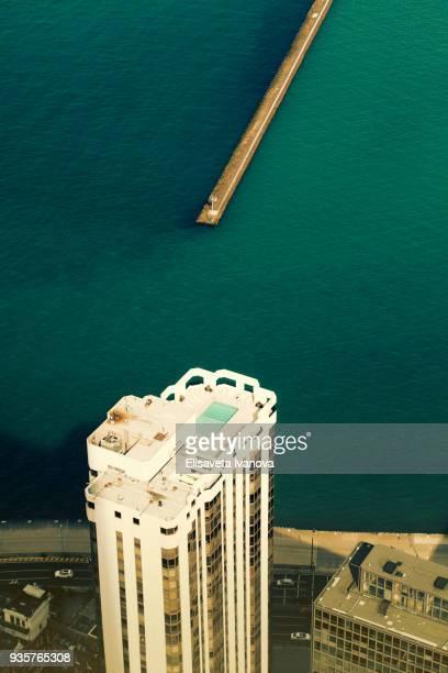 Auf dem Dach eines Wolkenkratzers in der Nähe von Lake Michigan und Chicago, IL, USA
