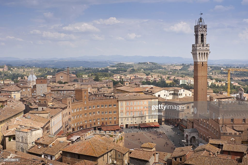 Rooftop Panorama of Siena toward Piazza del Campo : Stock Photo