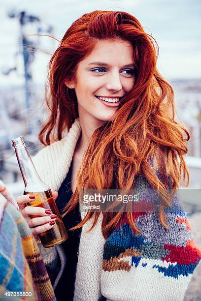 rooftop party. - ginger stock photos and pictures