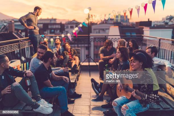 rooftop party - individual event stock pictures, royalty-free photos & images