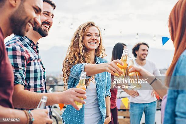 Rooftop party toast