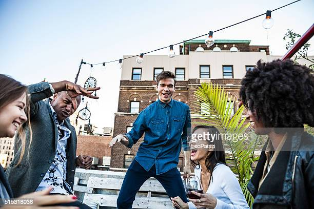 Rooftop party with friends in New York Manhattan