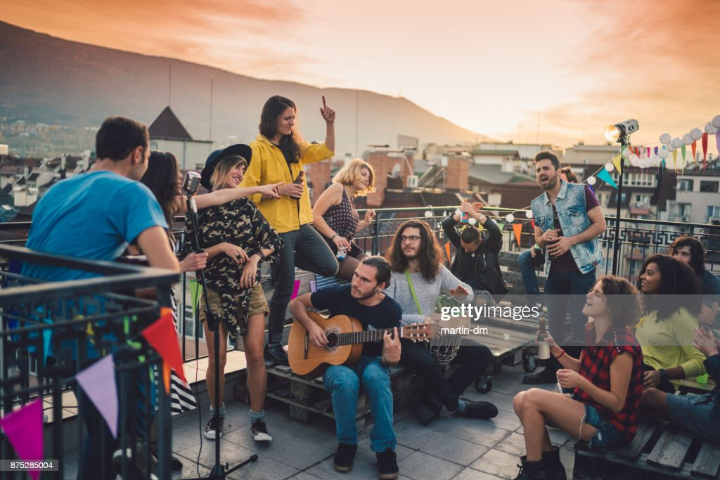 Rooftop party with live music : Stock Photo