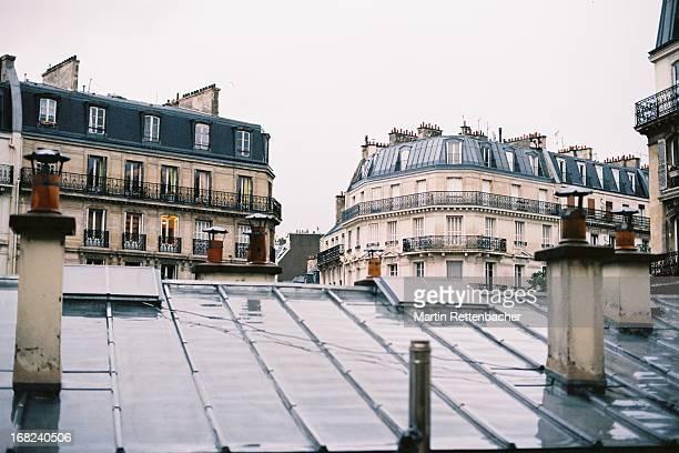 rooftop view of parisian houses - place de la republique paris stock pictures, royalty-free photos & images