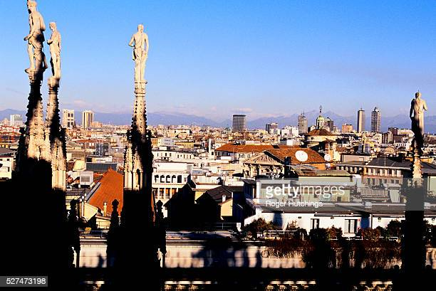 A rooftop view of the Northern Italian City of Milan from the top of The Duomo Milans Cathedral