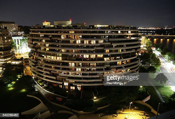 A rooftop view of The Watergate complex during the grand reopening party of the iconic Watergate Hotel on June 14 2016 in Washington DC