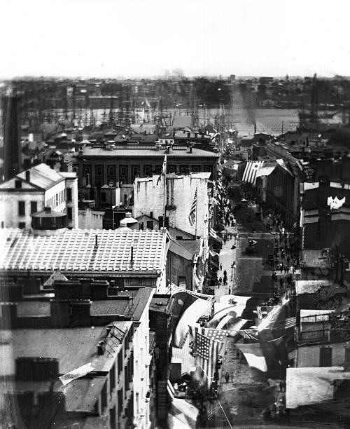 A roof-top view of Wall Street, New York City, looking...