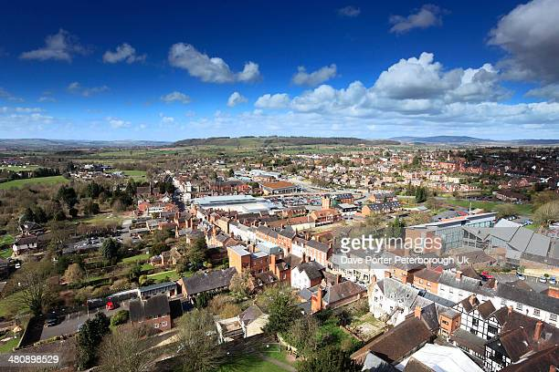 rooftop view over ludlow from st laurences church - ludlow shropshire stock photos and pictures