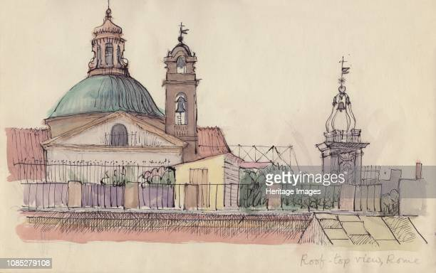 Rooftop view Rome circa 1950 Church and bell tower in Rome Italy Artist Shirley Markham
