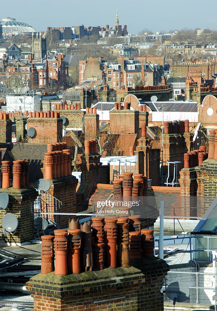 Rooftops and chimneys of London : Stock Photo