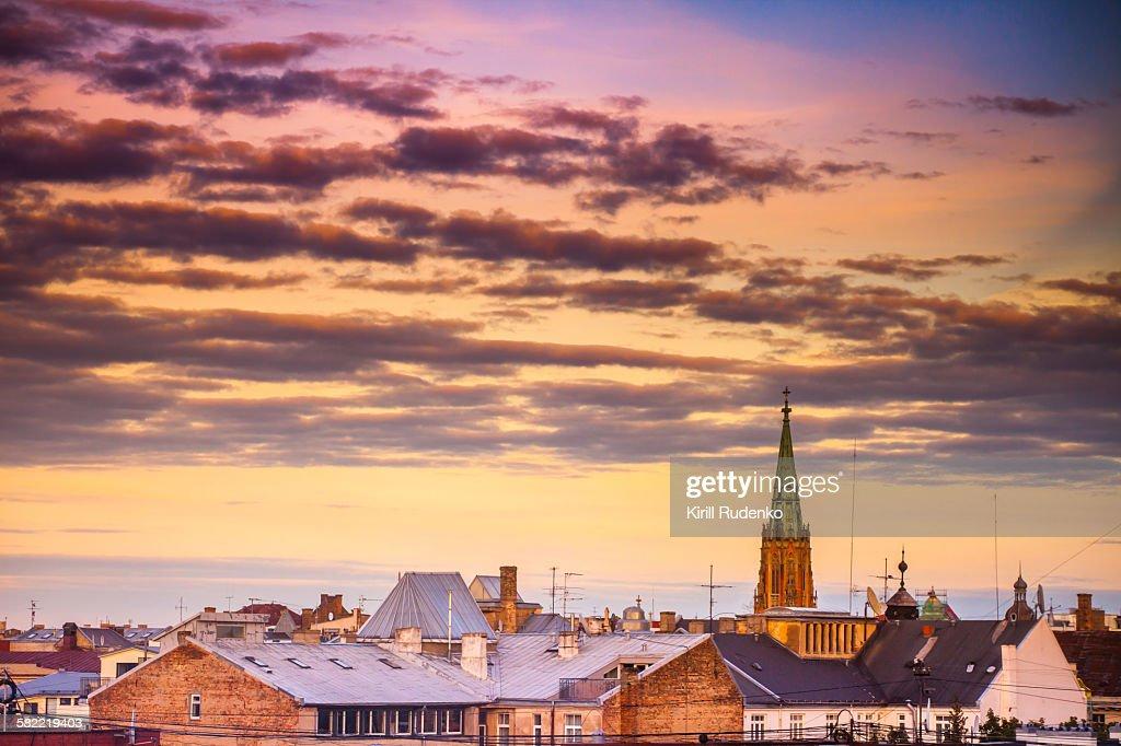 Rooftops and Church Tower, Riga, LAtvia : Stock Photo
