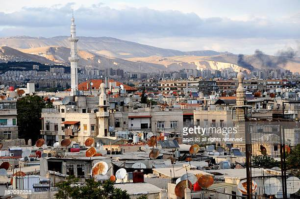 rooftops in damascus, syria - damascus stock pictures, royalty-free photos & images