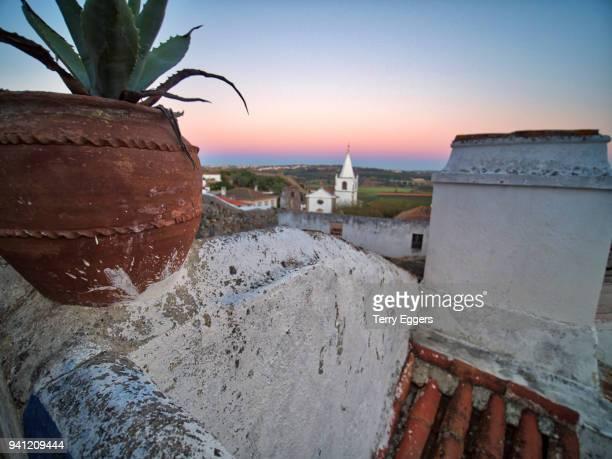 rooftops in obidos cityscape, leiria - leiria district stock photos and pictures