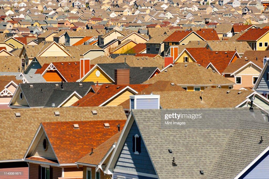 Rooftops in suburban development, Colorado Springs, Colorado, United States : Stock Photo