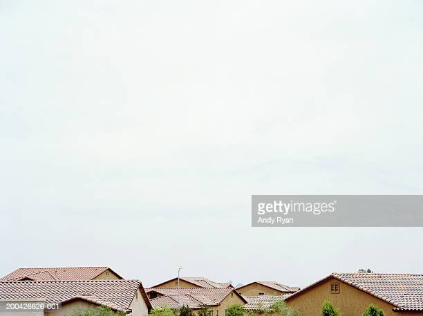 rooftops in suburban neighborhood, close-up - phoenix arizona stock pictures, royalty-free photos & images