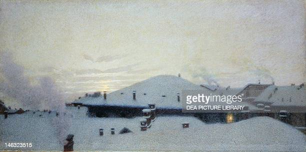 Rooftops in the Snow by Angelo Morbelli Oil on canvas 70x1325 cm