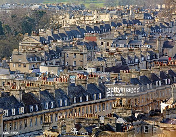 rooftops of bath from bath abbey - georgian style stock pictures, royalty-free photos & images