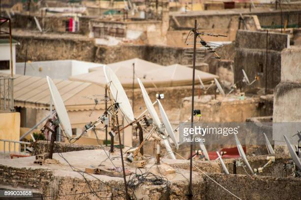 Rooftops of Fez with satellite TV dishes, Morocco