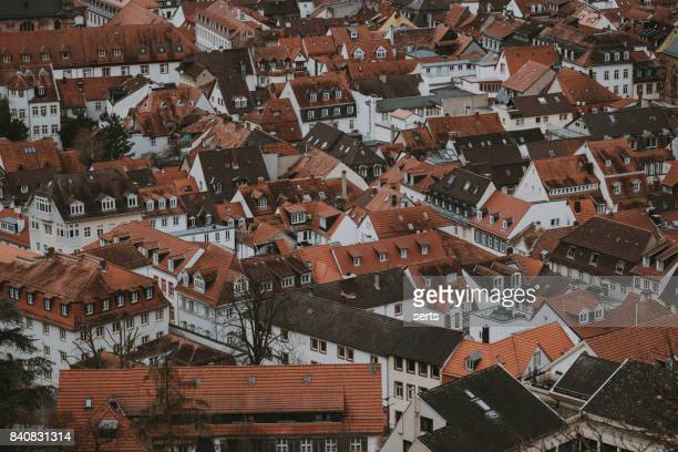 rooftops of heidelberg old town, baden-wurttemberg, germany - heidelberg stock photos and pictures