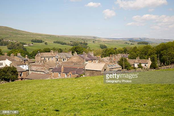 Rooftops of houses in village of Hawes Yorkshire Dales national park England UK