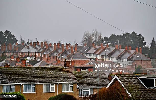rooftops of houses - northampton england ストックフォトと画像