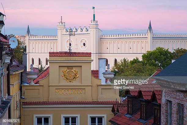 Rooftops of Lublin with Lublin castle in the background. Lublin Castle is former royal castle in Lublin, the Chapel of the Castle, originally built...