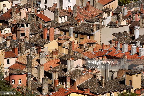 Rooftops of old houses in Lyon, France