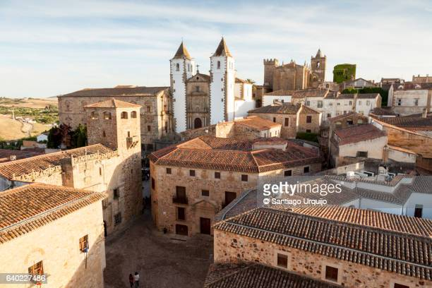 rooftops of old town of caceres - caceres stock pictures, royalty-free photos & images