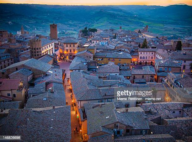 rooftops of orvieto and umbrian hills - orvieto stock pictures, royalty-free photos & images