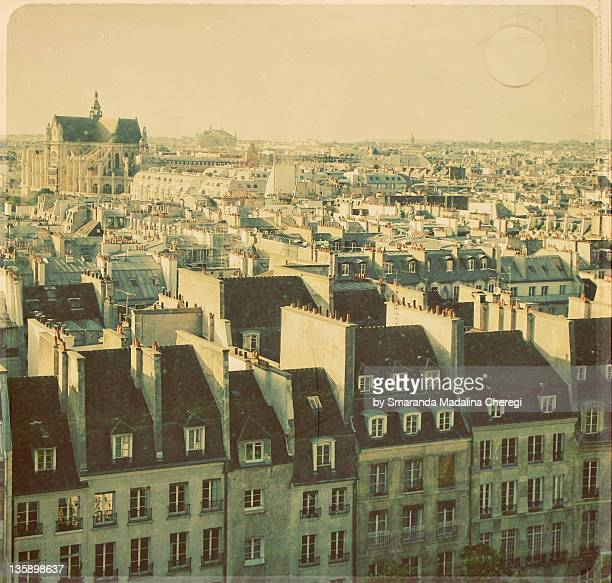 rooftops of paris - centre pompidou stock pictures, royalty-free photos & images