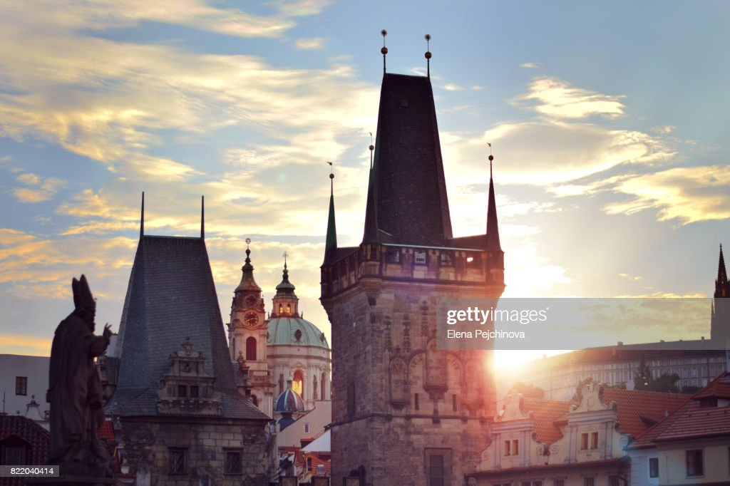 Rooftops of Prague at sunset : Stock Photo