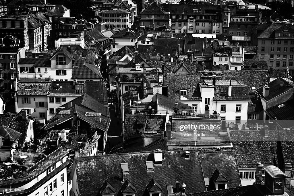 Rooftops of Zurich's historic part of old town : Stock-Foto
