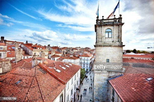 rooftops - santiago de compostela stock pictures, royalty-free photos & images