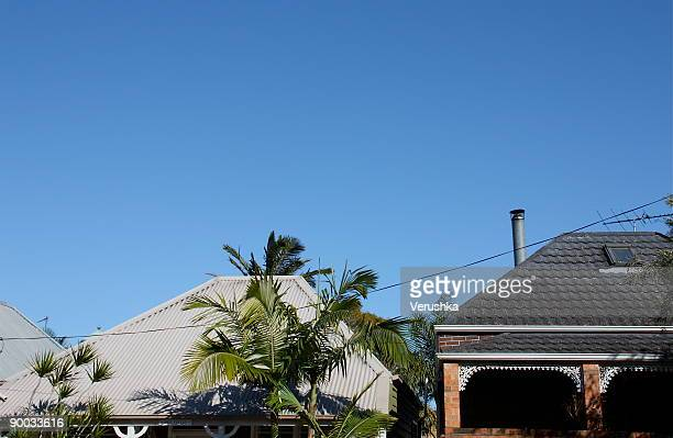 rooftops - suburban stock pictures, royalty-free photos & images