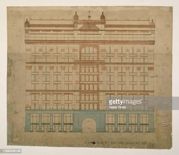 Rookery Building. Chicago. Illinois. LaSalle Street Elevation. 1885/87. Burnham & Root. American. 1873–1891. LaSalle Street. 209 South. Multicolored...