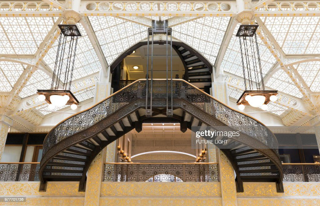 Rookery Building, interior staircase of the Light Court, Chicago, Illinois, USA, North America : Stock Photo