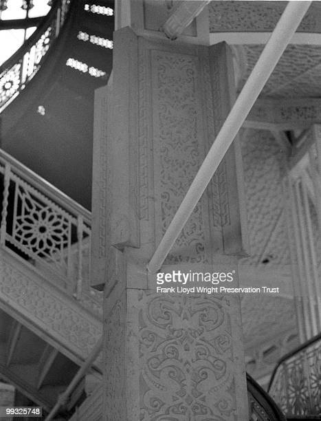Rookery Building lobby staircase looking toward ceiling with Frank Lloyd Wright's 1905 alterations, Chicago, Illinois, undated.