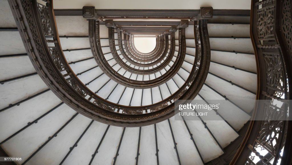 Rookery Building Spiral Staircase, Chicago, Illinois, USA, North America :  Stock Photo