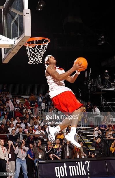 Rookie Carmelo Anthony of the Denver Nuggets attempts dunk during Rookie Practice at Center Court of Jam Session at Los Angeles Convention Center on...
