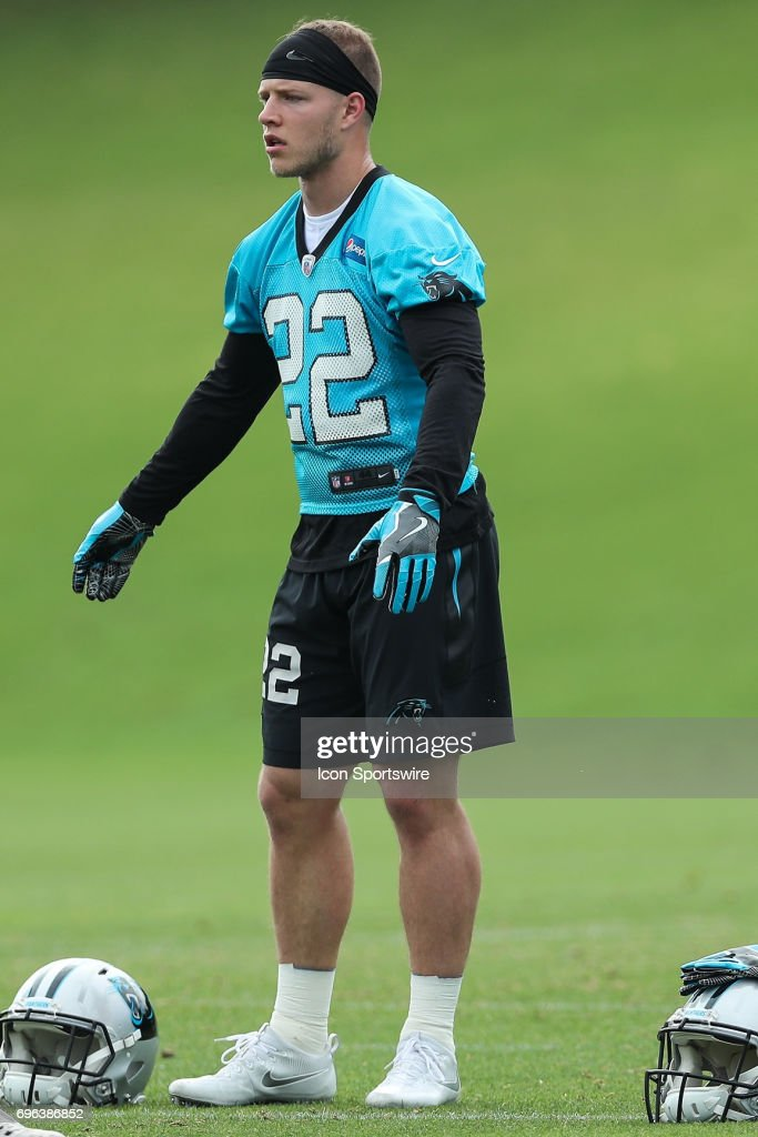 Rookie Carolina Panthers running back Christian McCaffrey (22) during the Carolina Panthers Mini Camp held on June 15, 2017 held at Carolina Panthers Training Facility in Charlotte, NC.