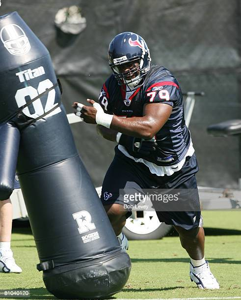 Rookie defensive tackle Frank Okam of the Houston Texans runs drills during a morning practice session May 9, 2008 in Houston, Texas.