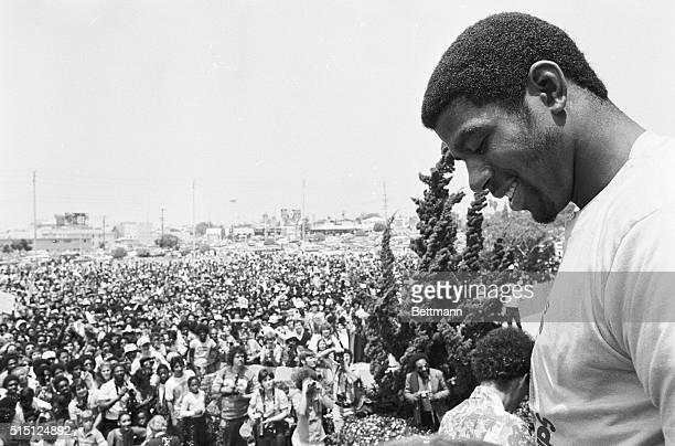 Rookie Earvin Magic Johnson and his Lakers teammates were honored by 5000 plus fans at the Inglewood Forum parking lot after the National Basketball...