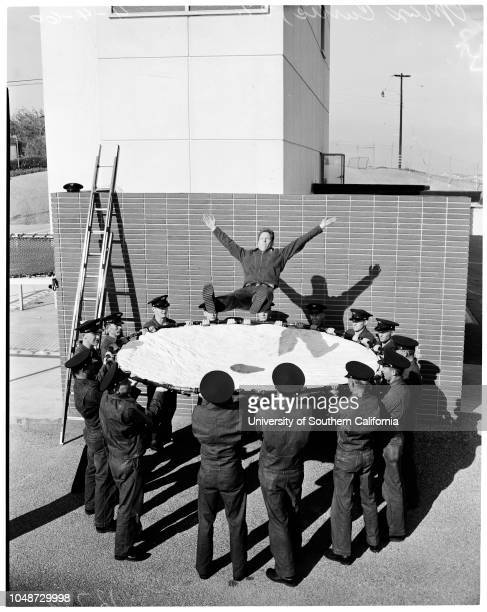 Rookie fire fighters demonstration, 4 April 1960. Max Curtis -- 27 years ;Captain Ronald Frye;Merill Gibbs -- 25 years;Dale Howard -- 23...