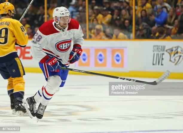 Rookie Jakub Jerabek of the Montreal Canadiens skates against the Nashville Predators during the first period at Bridgestone Arena on November 22...