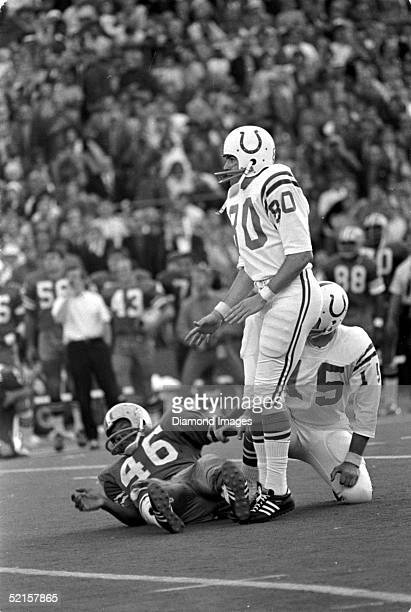 Rookie kicker Jim O'Brien of the Baltimore Colts kicks the winning 32yard field goal with 05 remaining in Super Bowl V against the Dallas Cowboys on...