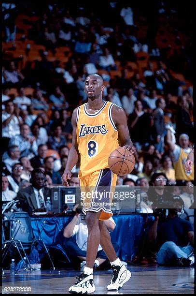 Rookie Kobe Bryant of the Los Angeles Lakers dribbles during a game at the Great Western Forum in Inglewood CA