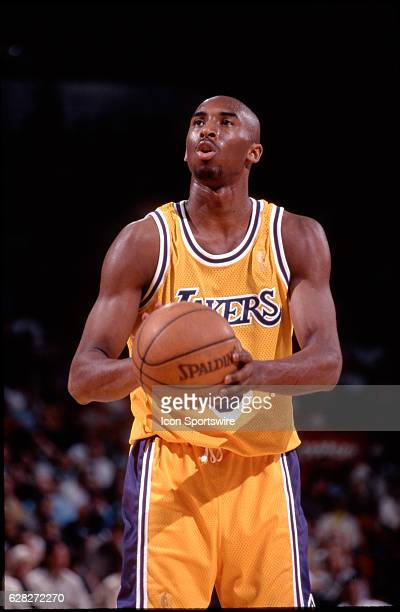 Rookie Kobe Bryant of the Los Angeles Lakers shoots a free throw during a game at the Great Western Forum in Inglewood CA