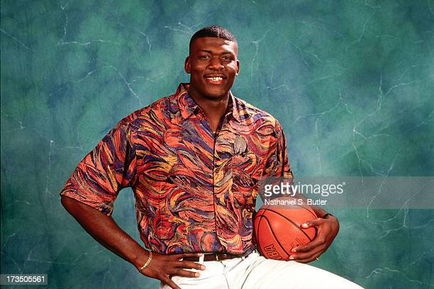 Rookie Larry Johnson of the Charlotte Hornets poses for a photo shoot during the 1991 NBA Draft at Madison Square Garden in New York New York NOTE TO...
