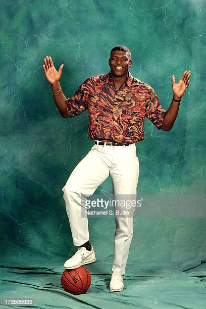 Rookie Larry Johnson of the Charlotte Hornets poses for a photo shoot prior to the 1991 NBA Draft at Madison Square Garden in New York New York NOTE...