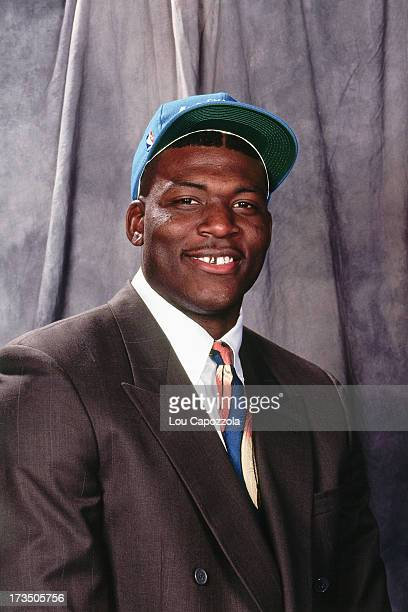 Rookie Larry Johnson of the Charlotte Hornets poses for a photo during the 1991 NBA Draft at Madison Square Garden in New York New York NOTE TO USER...